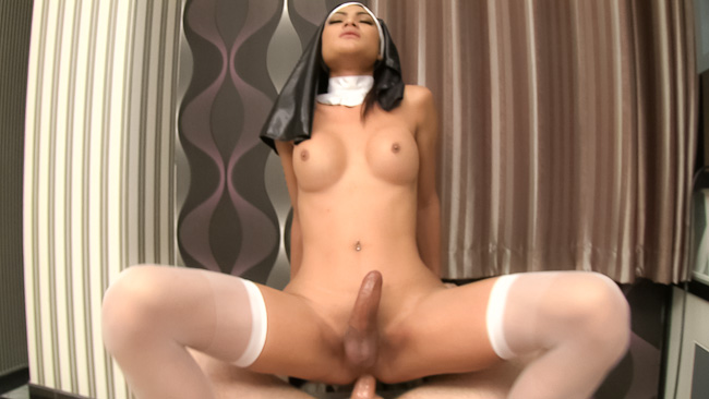Thai Ladyboy in Sexy Nun Costume