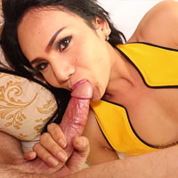 Preview Ladyboy Gold - Yellow Black Anal Beads and Creampie